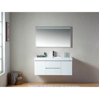 Vanity Art 48 Inch Wall Hung Double Sink Bathroom Vanity With Resin Top