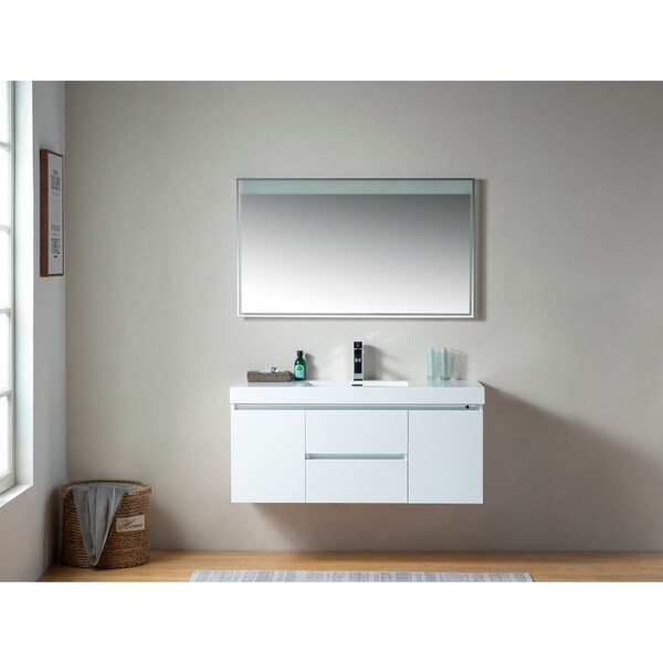 shop vanity art 48 inch wall hung double sink bathroom vanity with resin top on sale free. Black Bedroom Furniture Sets. Home Design Ideas