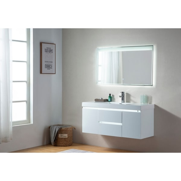 Shop Vanity Art 48 Inch Single Sink Wall Hung Bathroom