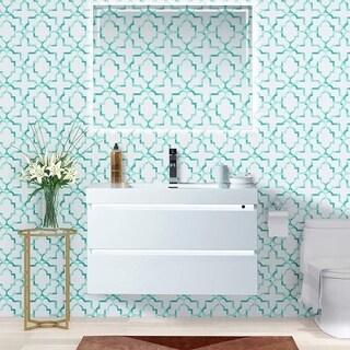 Vanity Art 36 Inch LED Lighted Wall Hung Single Sink Bathroom Vanity With Resin Top