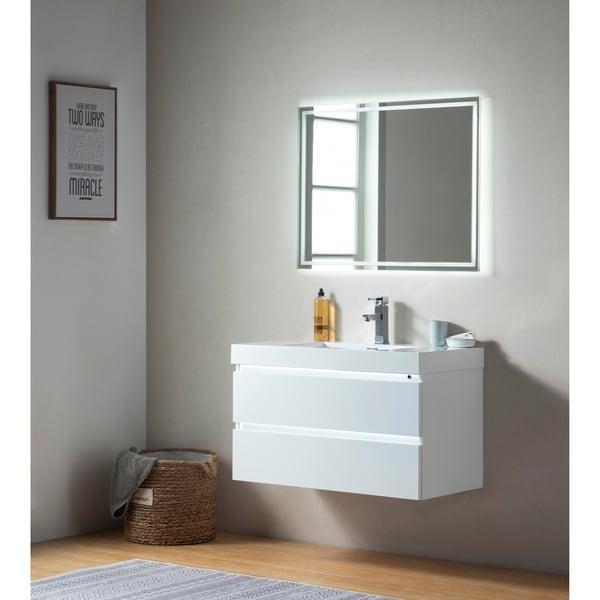 65 Inch Bathroom Vanity Single Sink: Shop Vanity Art 36 Inch LED Lighted Wall Hung Single Sink