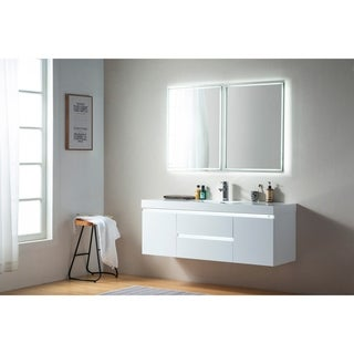 Vanity Art 60-Inch Single Sink Wall-Hung Bathroom Vanity Set White Stone Top Glossy Finish 2 Drawers 4 shelves
