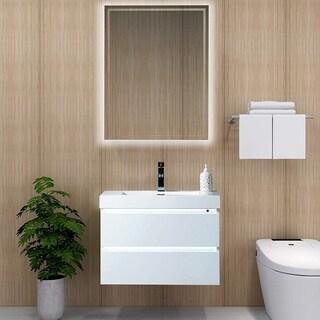 Vanity Art 30 Inch Single Sink Bathroom Vanity With Resin Top