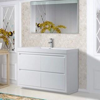 Vanity Art 48 Inch Single Sink Bathroom Vanity With Resin Top