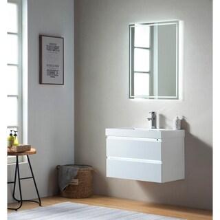 Vanity Art 30 Inch Wall Hung Single Sink Bathroom Vanity With Resin Top