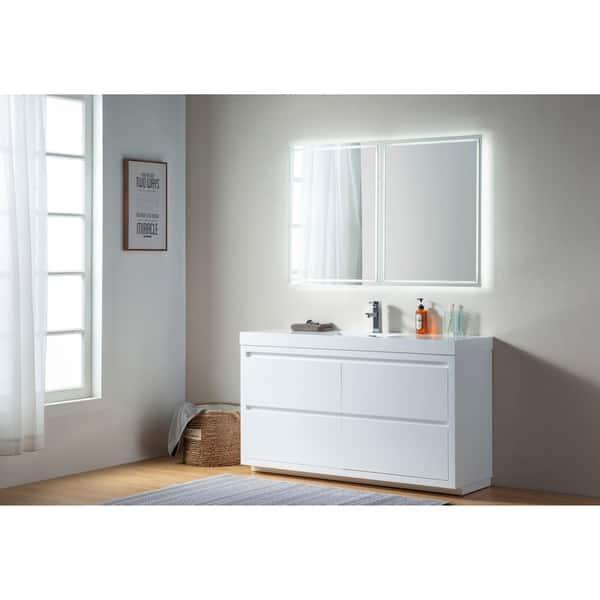 Shop Vanity Art 60 Inch Single Sink Floor Standing Wall Mounted