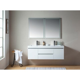 Vanity Art 60-Inch Double Sink Wall-Hung Bathroom Vanity Set White Stone Top Glossy Finish 2 Drawers 4 Shelves