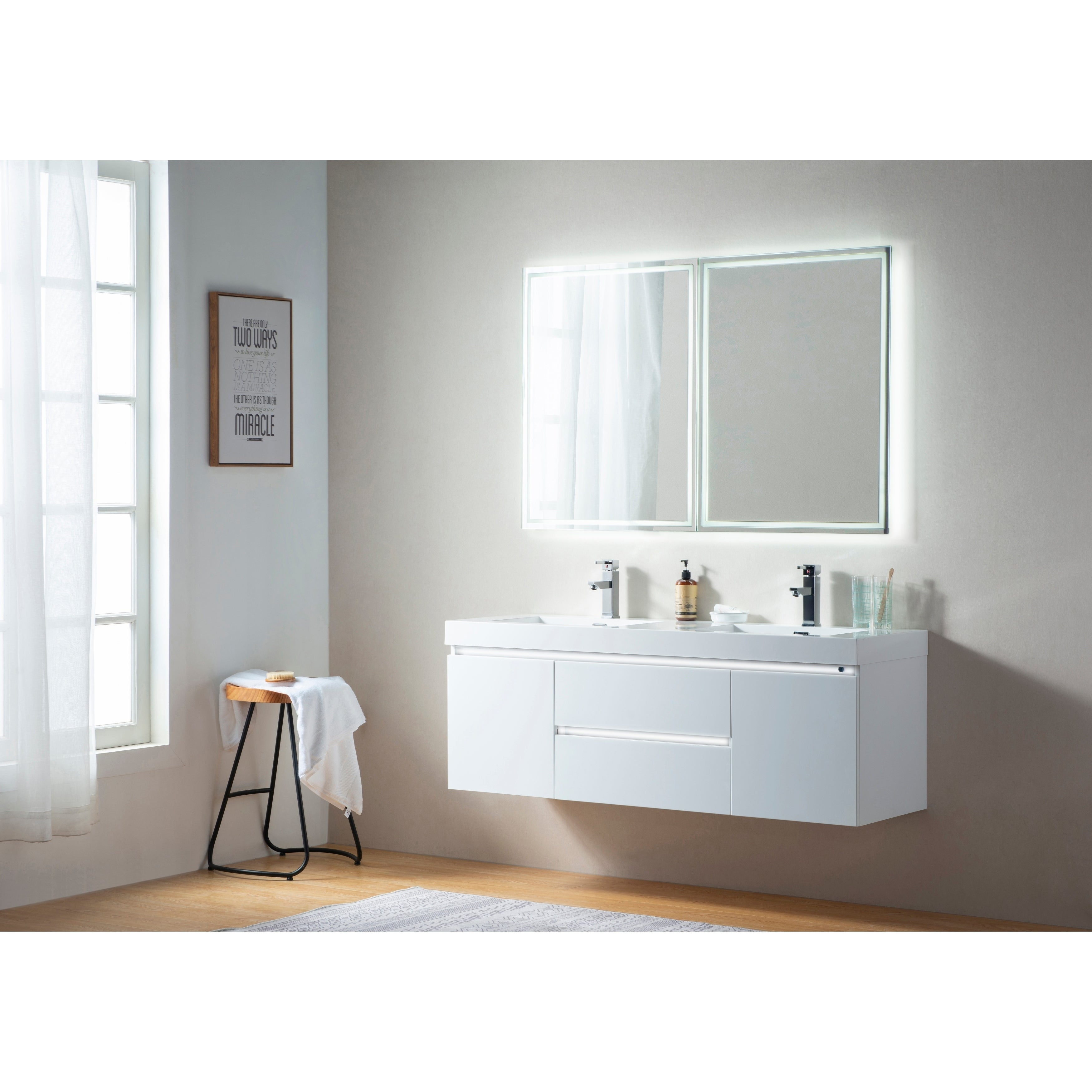 Vanity Art 60 Inch Double Sink Wall Hung Bathroom Set White Stone Top Glossy Finish 2 Drawers 4 Shelves