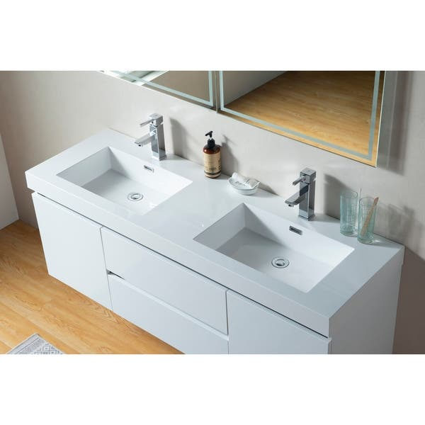Shop Vanity Art 60 Inch Double Sink Wall Hung Bathroom Vanity Set White Stone Top Glossy Finish 2 Drawers 4 Shelves On Sale Overstock 25693191