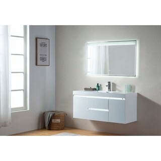 Vanity Art 48 Inch LED Lighted Wall Hung Double Sink Bathroom Vanity With Resin Top
