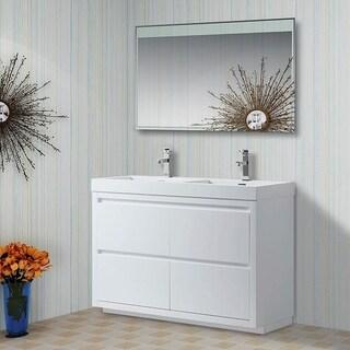 Vanity Art 48 Inch Double Sink Bathroom Vanity With Resin Top