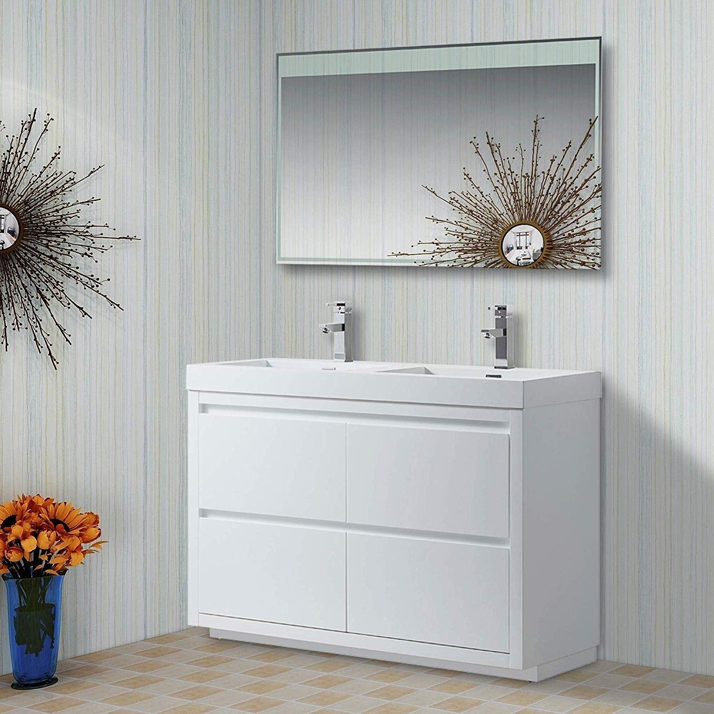Shop Vanity Art 48 Inch Double Sink Floor Standing Wall Mounted