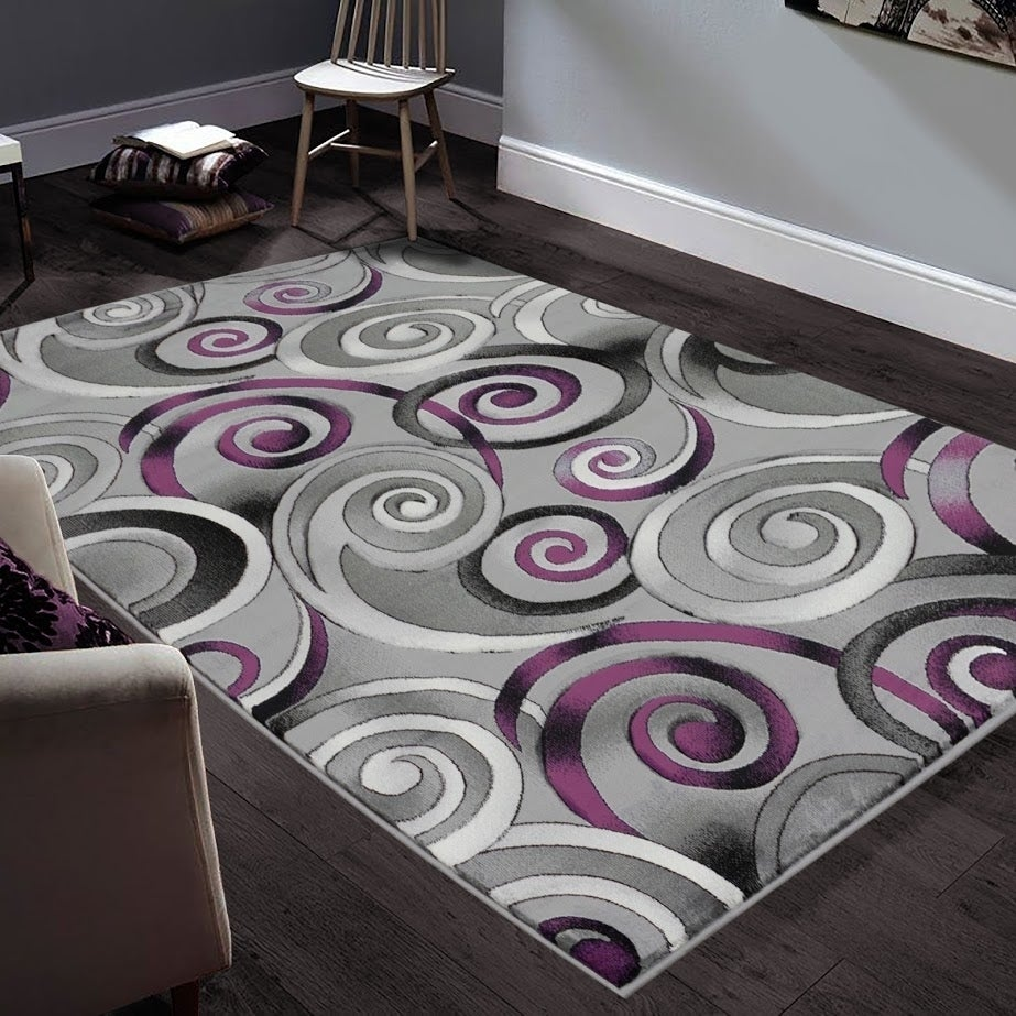 Allstar Rugs Hand Carved Grey And White Rectangular Accent Area Rug With Purple Abstract Swirl Design 4 11 X6 11 On Sale Overstock 25693199