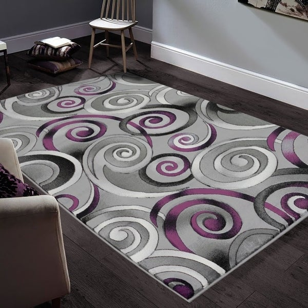 "Allstar Rugs Hand-Carved Grey and White Rectangular Accent Area Rug with Purple Abstract Swirl Design - 6' 11"" x 4' 11"""