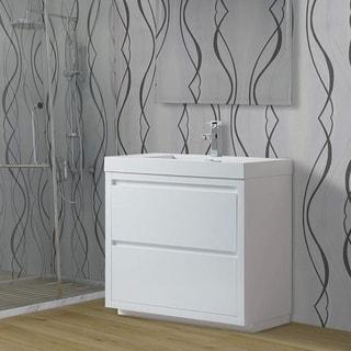 Vanity Art 36-Inch Single Sink Floor-Standing Wall Mounted Bathroom Vanity Set White Stone Top Glossy Finish