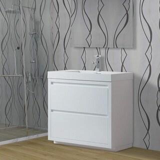Vanity Art 36 Inch Single Sink Bathroom Vanity With Resin Top