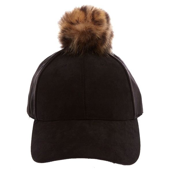 Shop Faux Suede Baseball Cap Faux Fur Pom Pom - On Sale - Free Shipping On  Orders Over  45 - Overstock - 25693240 18a7c61ca216