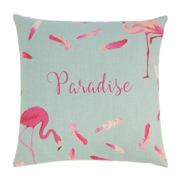 Accent Plus Polyester Flamingo Feathers Decorative Throw Pillow
