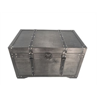 Gold Rush Black Medium Wood Storage Trunk Wooden Treasure Chest