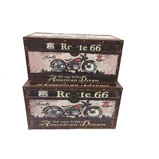 Route 66 Wood Storage Trunk Wooden Treasure Chest Set of 2