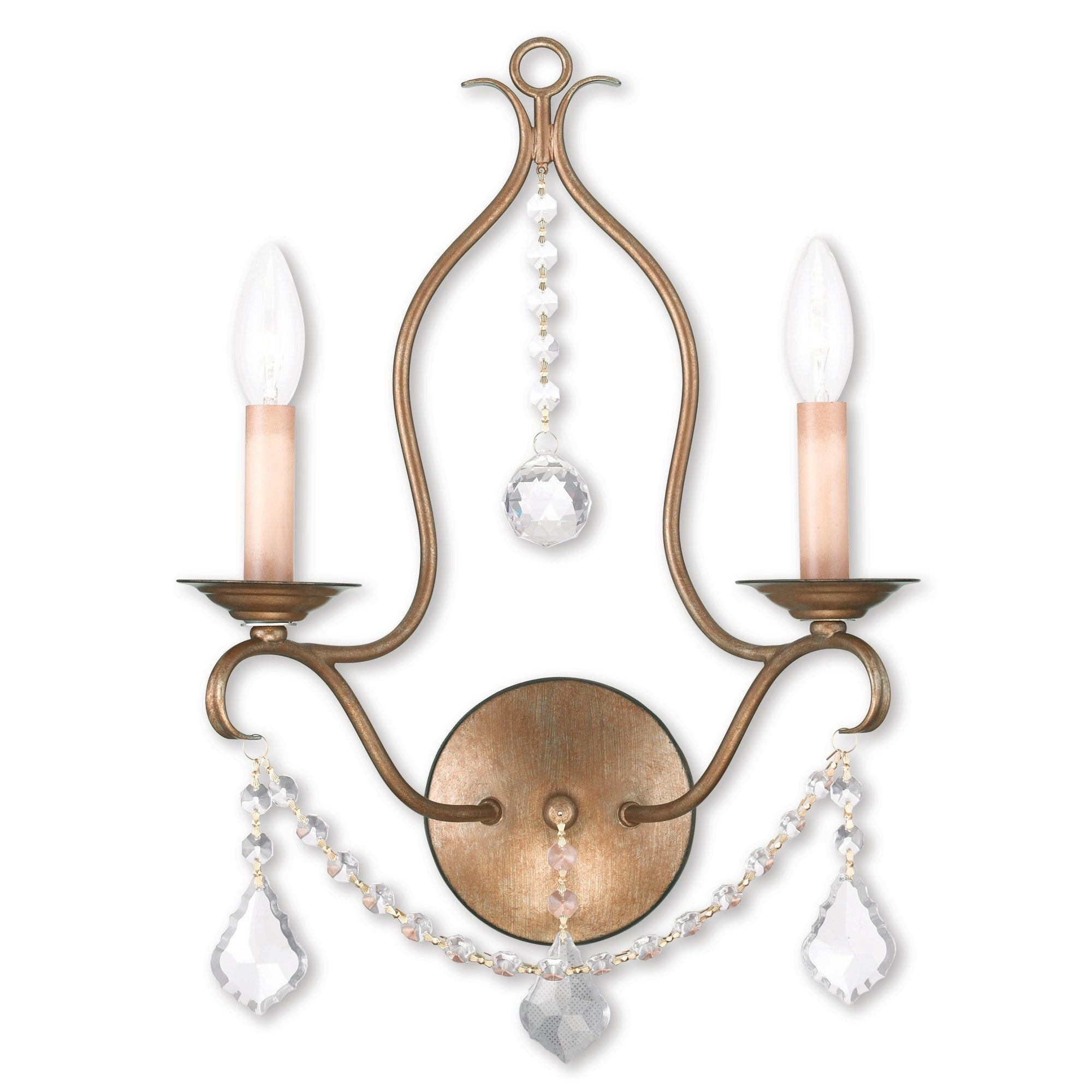 Livex Lighting Chesterfield 2 Light Antique Gold Leaf Wall Sconce Overstock 25693449