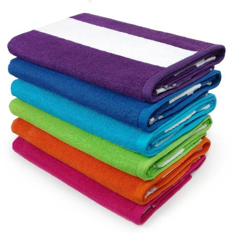 KAUFMAN - Cabana Terry Loop Beach & Pool Towel 6-Pack - 30in x 60in - Multi-color