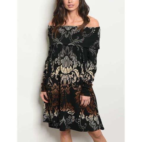 JED Women's Off-Shoulder Paisley Print Knee Length Knit Dress