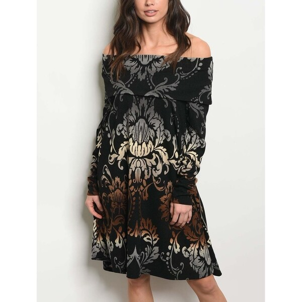 JED Women's Off-Shoulder Paisley Print Knee Length Knit Dress. Opens flyout.