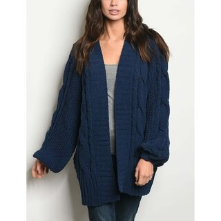 JED Women's Oversized Chenille Blue Cardigan Sweater