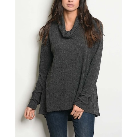 JED Women's Drapey Ribbed Knit Turtleneck Pull-Over Top