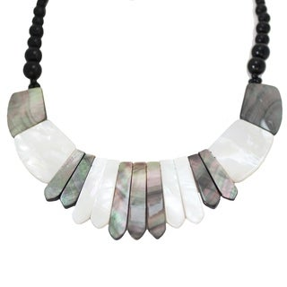 Michael Valitutti Palladium Silver Mother-of-Pearl & Black Onyx Bib Necklace