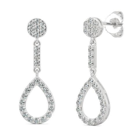 Moissanite by Charles & Colvard 14k White Gold 0.52 DEW Teardrop Earrings