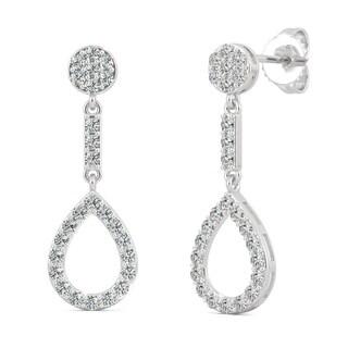 Moissanite by Charles & Colvard 14k White Gold 0.52 DEW Teardrop Earrings