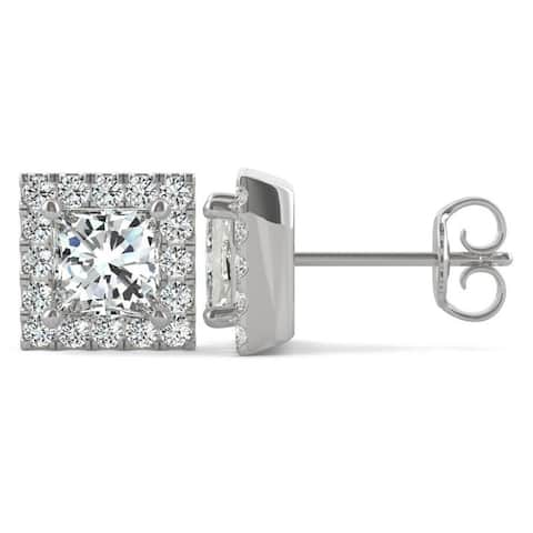 4c0fb785b Moissanite by Charles & Colvard 14k White Gold 1.92 DEW Square Brilliant  Halo Stud Earrings