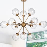 Masakee 12-Light Gold Sputnik Style Chandelier with Glass Sphere Shades