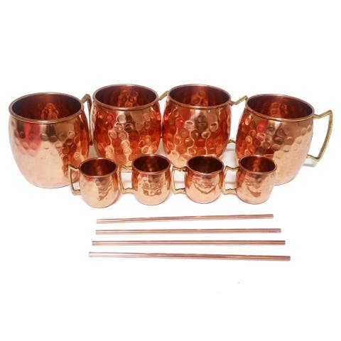 Moscow Mule Mug / Shot Glass / Straw Complete Set 100 Percent Copper