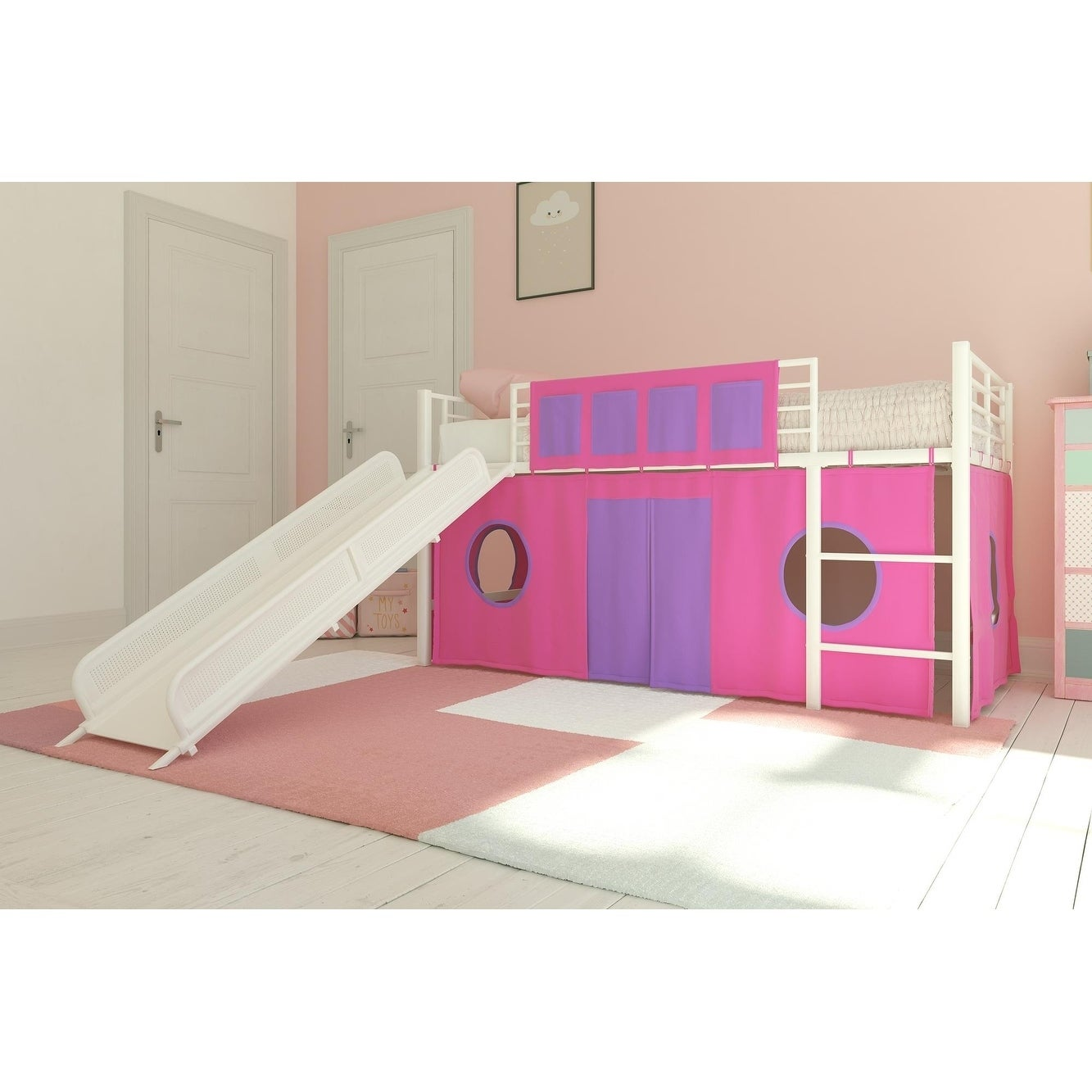 Shop Dhp Junior Twin Loft Bed With Slide And Curtain Set