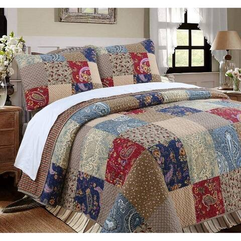Cozy Line Hyler Patchwork Cotton 3 Piece Reversible Quilt Set - Taupe/Brown/Blue/Red
