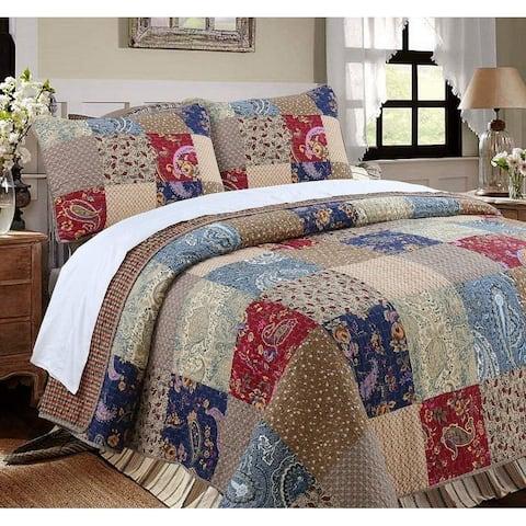 Cozy Line Hyler Patchwork Cotton 3 Piece Reversible Quilt Set