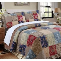 Cozy Line Hyler Patchwork Cotton 3 Piece Reversible Quilt Set