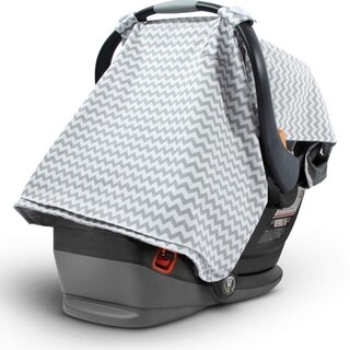 2 in 1 Stylish Chevron Print Breathable Soft Fabric Infant Nursing Baby Car Seat - Grey