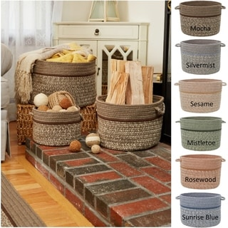 Seaport Wool Blend Storage Baskets.