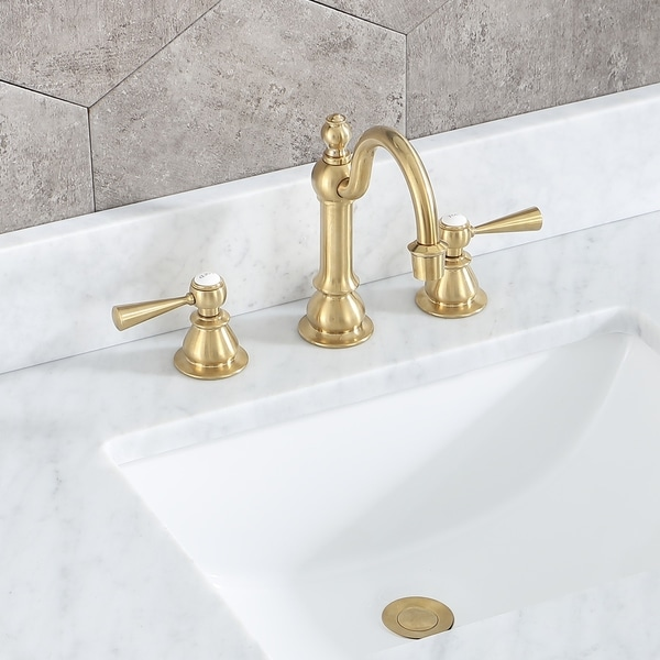 Water Creation Satin Brass High Arc Torch Lever Handle True Brass Lavatory Faucet. Opens flyout.