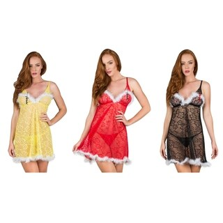 Feather Trim Floral Lace Babydoll Chemise