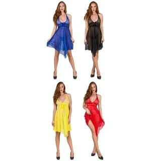 Halter Top Sheer Chemise Top Dress with Open Back Lingerie Set