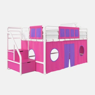 DHP Loft Bed with Storage Steps and Curtain Set