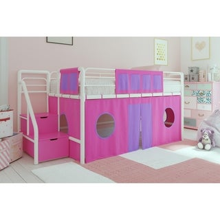 Shop Dhp Junior Pink And White Twin Loft Bed With Storage