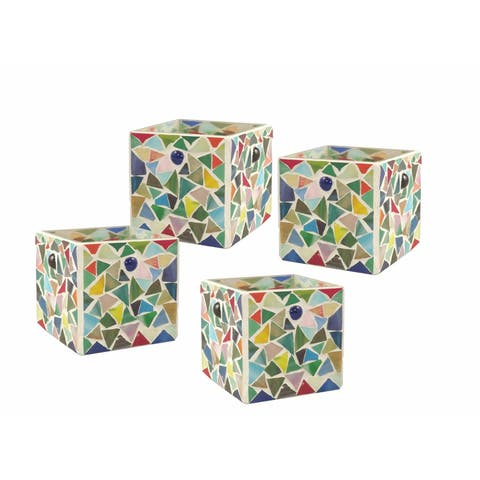 """Springdale 3.25""""H Boteri 4-Piece Mosaic Candle Holder Set (Candles Not Included)"""
