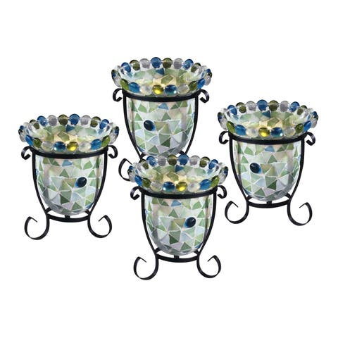 """Springdale 5.5""""H Facio 4-Piece Mosaic Candle Holder Set (Candles Not Included)"""