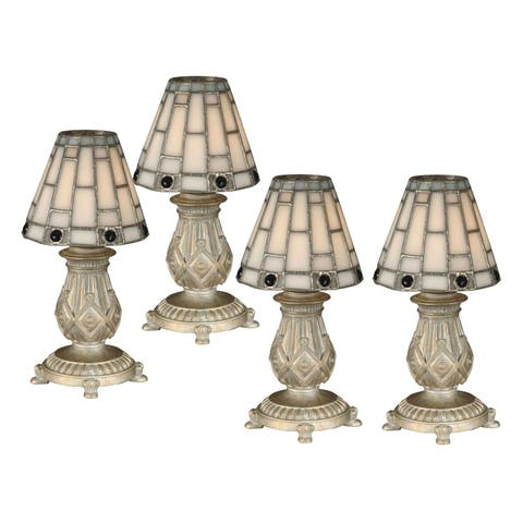 """Springdale 9""""H White Jewel 4-Piece Mosaic Candle Holder Set (Candles Not Included)"""